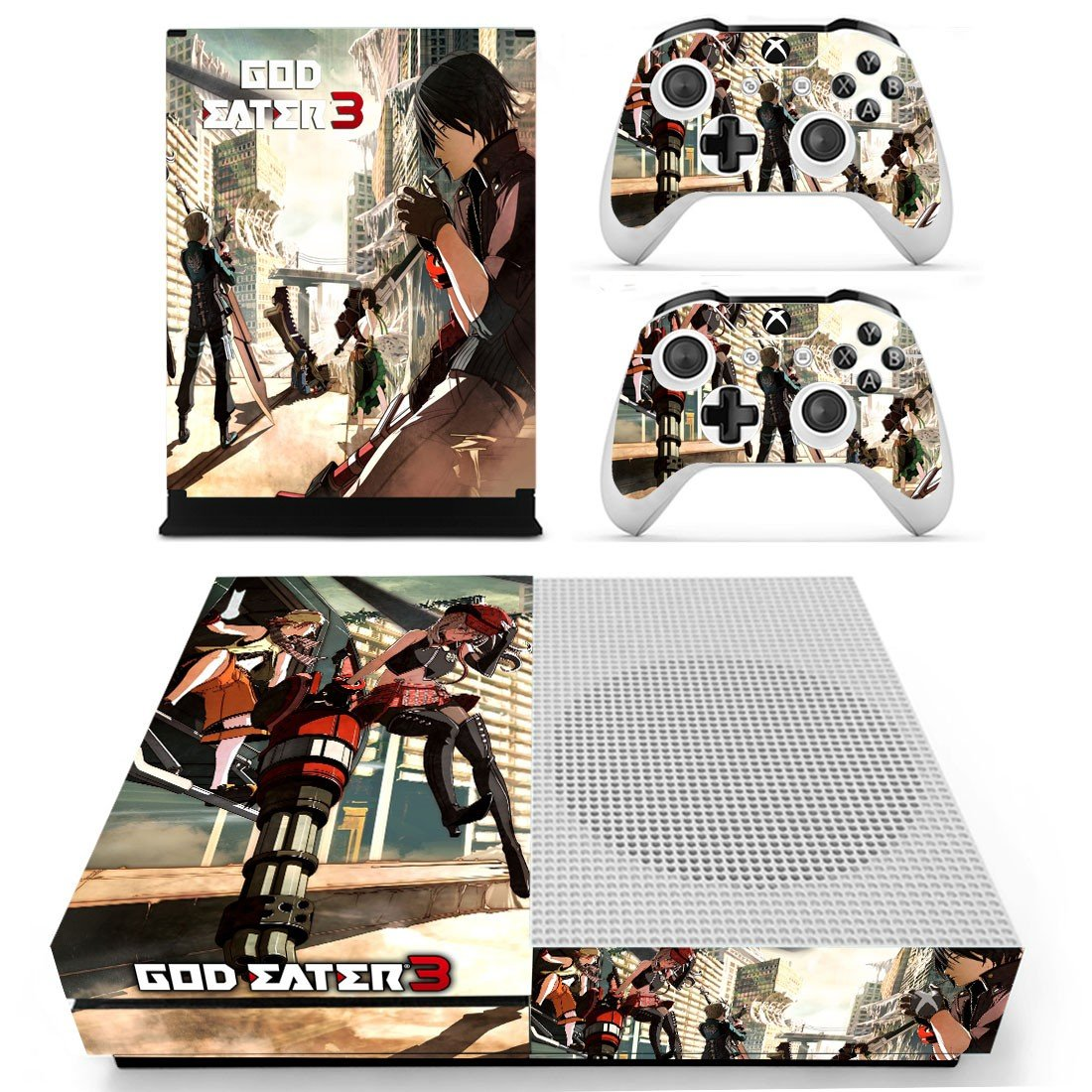 God Eater 3arts 3 decal skin sticker for Xbox One S console and controllers