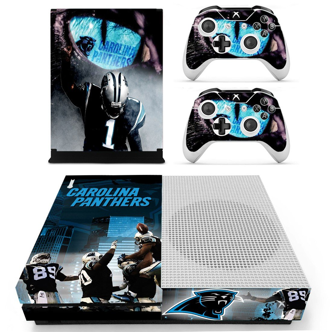 Carolina Panthers decal skin sticker for Xbox One S console and controllers