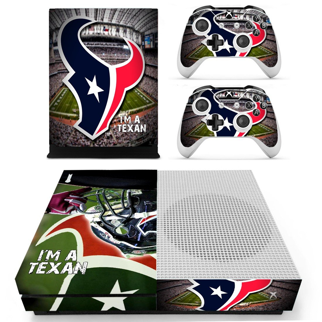 Houston Texan decal skin sticker for Xbox One S console and controllers