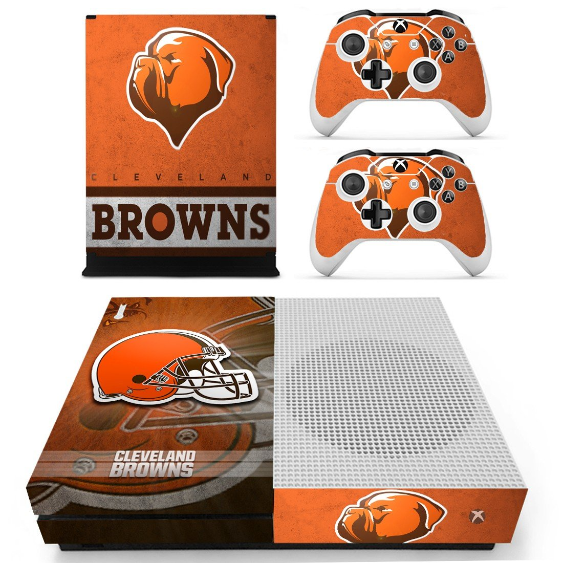Cleveland Browns decal skin sticker for Xbox One S console and controllers