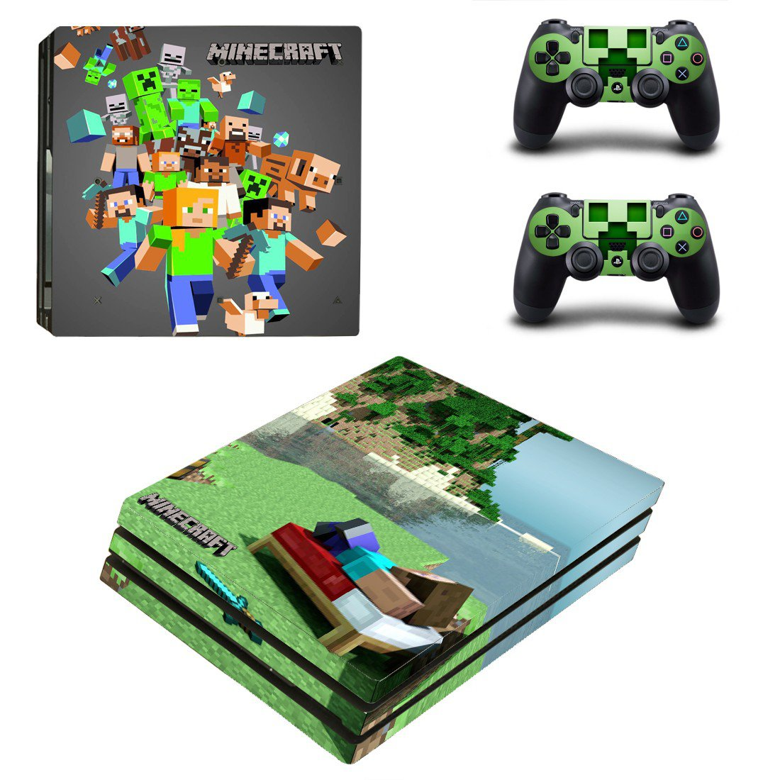 Minecraft decal skin sticker for PS4 Pro console and controllers