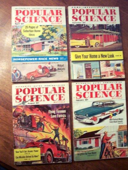 Set of 4 1955 Popular Mechanics Magazines Ex. Cond.