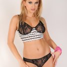 Beautiful White-Black Ruffled Polka Dot Set With Black Lace