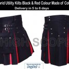 Hybrid Utility Kilts Black & Red Color Made of Cotton Fastest delivery in 5 to 7 days