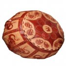 Genuine Leather Hand Made Pouffe Floor Stool Round Elephant Head
