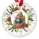 Alice in Wonderland Alice and the Flamingo Single Sided Porcelain Ornaments