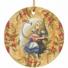 Alice in Wonderland Alica and Flamingo  Single Sided Porcelain Ornaments