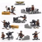 WW2 German Soldiers Battle Pack Cannon Dog Lego Military Base Compatible Toys