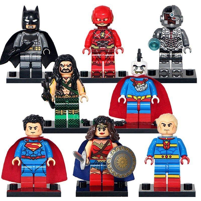 DC Justice League Batman Superman Wonder Woman Flash Cyorg Lego Minifigures Fit Hero