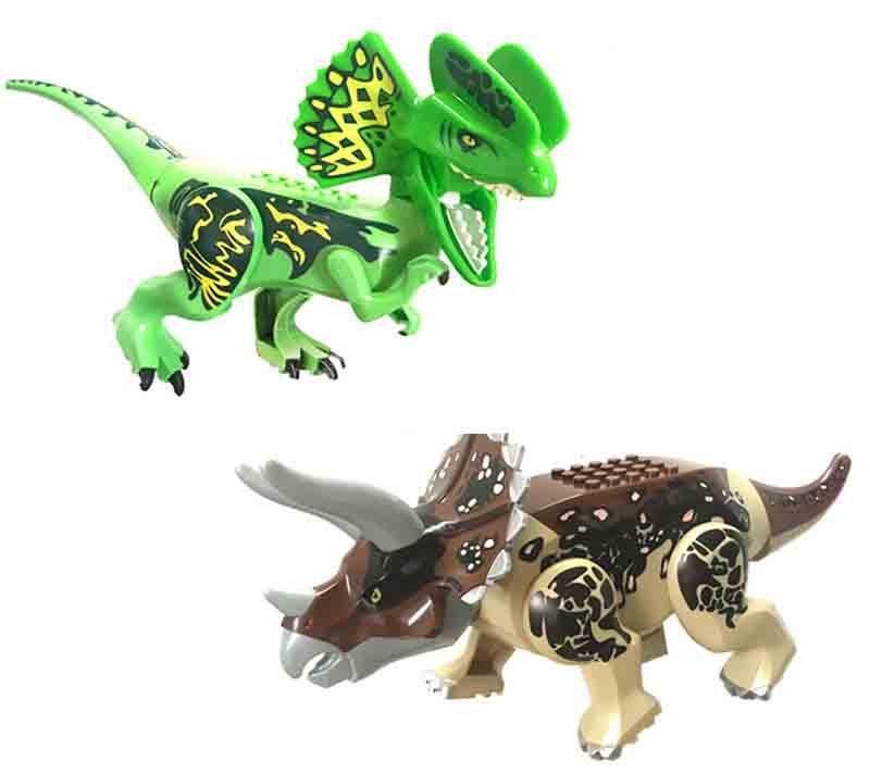 Jurassic World Dilophosaurus Triceratops Lego Jurassic Dinosaur Minifigures Compatible