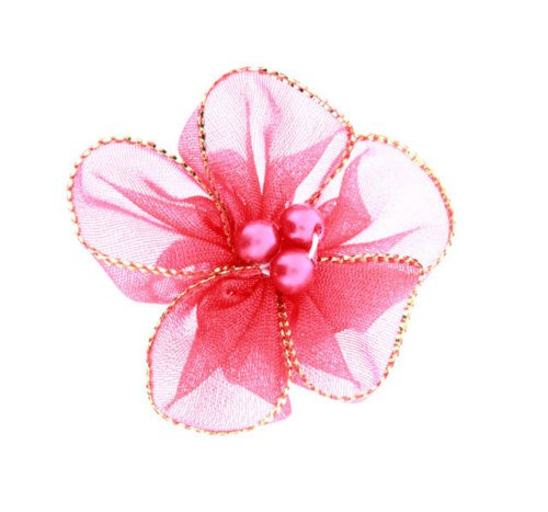"""1 5/8"""" Gold Edged Organza Flower with Pearls-10 pieces"""