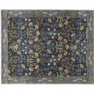 POTTERY BARN Adeline Blue 5X8 Floral Style Handmade Wool Rug & Carpet