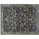 POTTERY BARN Adeline Blue 8X10 Floral Style Handmade Wool Rug & Carpet