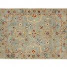 POTTERY BARN Leslie Blue 8X10 Floral Style Handmade Wool Rug & Carpet