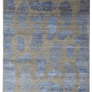 "Paisley BluDesign 5'7"" x 7'10 Hand Knotted Oriental Contemporary Silk & Wool Rug"