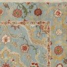 POTTERY BARN Leslie Blue Floral Style Handmade Wool Rug & Carpet 9x12