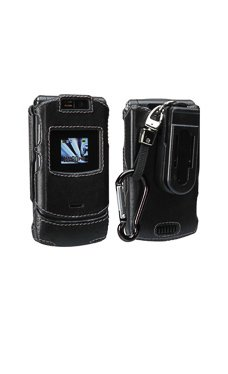 Motorola V3xx Black Fitted Leather Case