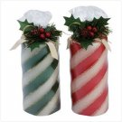 candy cane pillar candle set