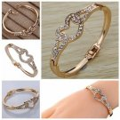 Sweety Rose Gold Hollow Heart Inlay Full Crystal Charming Bangle Bracelet !!!
