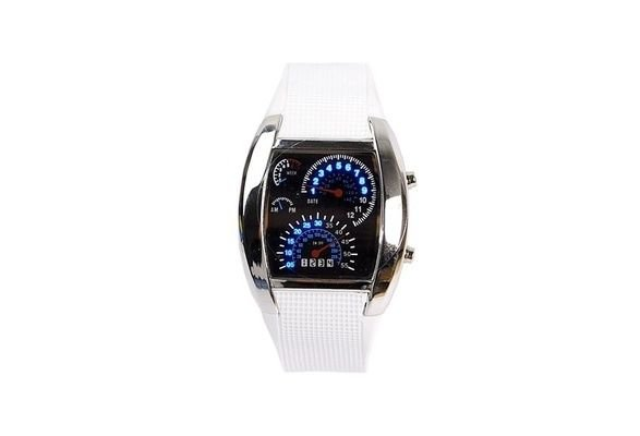 Cool Car Meter Dial Unisex Flash Dot Matrix LED Racing Watch !!!