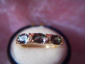 3-Stone Blue Topaz & Diamond 10k Gold Ring