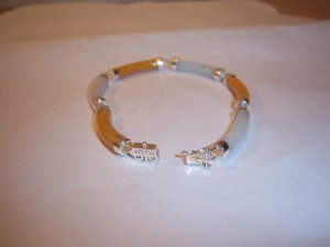 Yellow & White Jade .925 Sterling Silver Bracelet