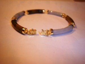 Genuine Tigers Eye & White Jade 14K Yellow Gold Bracelet. MSRP: $250.00. YOU SAVE $150.00