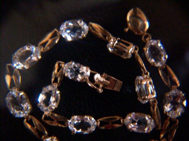 White Topaz & 10k Yellow Gold Bracelet.  (Click photo for Euro price).