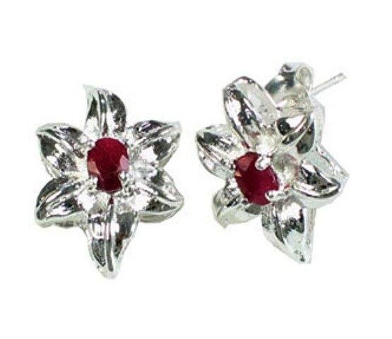 Sterling Silver Ruby Lily Earrings