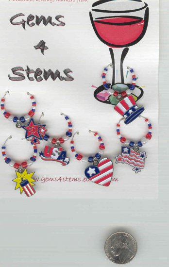 Patriotic Wine Charm Charms Markers: Set of 6