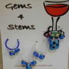 Blue Beaded Wine Charm Charms Markers: Set of 4