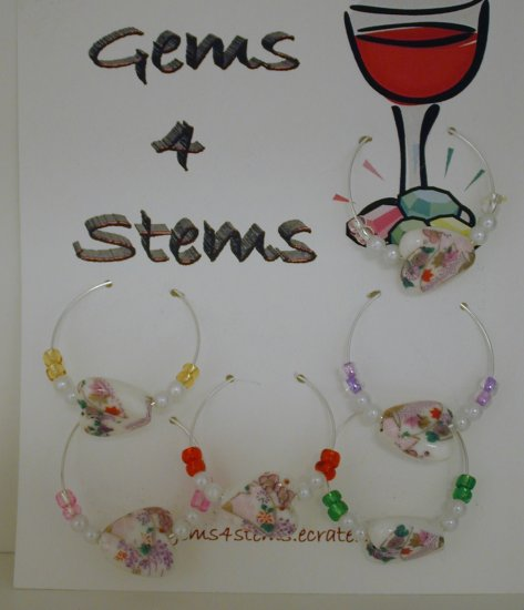 6 Purple Flowered Porcelain Heart Wine Glass Charm Charms Markers