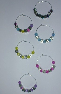 MINE Wine charms Set of 6 Beverage Markers