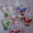 Set of 6 Real Estate Agent Sold Sign Wine Glass Charms