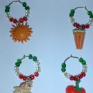Set of 4 Cinco de Mayo Wine Glass Charms Beverage Markers