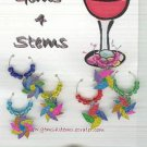 6 Fun Pinwheel Colorful Wine Glass Charms Beverage Markers