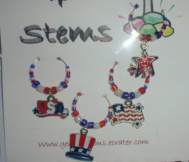 SEt of 4 Patriotic Wine Glass Charms Beverage Markers