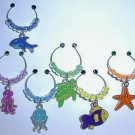 Set of 6 Under the Sea Wine Glass Charms Beverage Markers