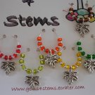 Set of 6 Fall Leaves Wine Glass Charms- You Pick Your Colors