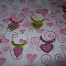 6 Valentine Day Funky Heart Wine Charms Markers