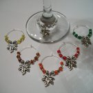 Set of 6 Fall Leaves Wine Glass Charms