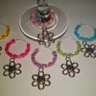 Spring Flower Wine Glass Charm-Set of 6