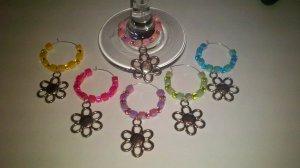 Spring Flower Wine Glass Charm-Set of 6