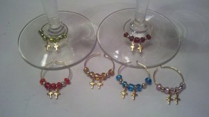Gems4Stems: 6 Gold Cross Wine Glass Charms-Perfect For First Communion