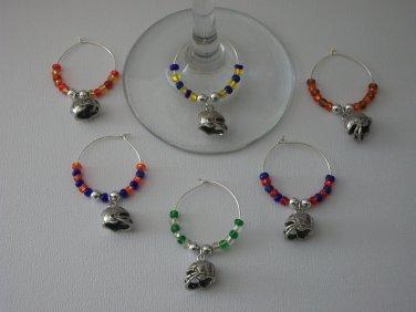 Gems 4 Stem Gems4Stems 6 Football Helmet Wine Glass Charms Beverage Markers
