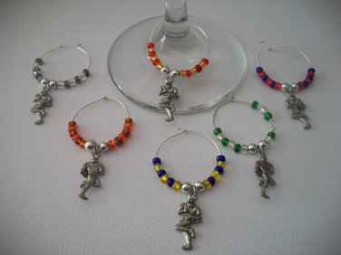 Gems 4 Stem Gems4Stems 6 Football Player Wine Glass Charms Beverage Markers