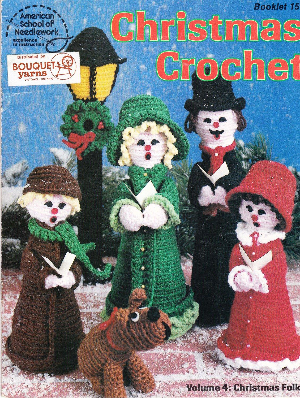 American School of Needlework 1980 Christmas Crochet Booklet 15 Volume 4 Christmas Folks