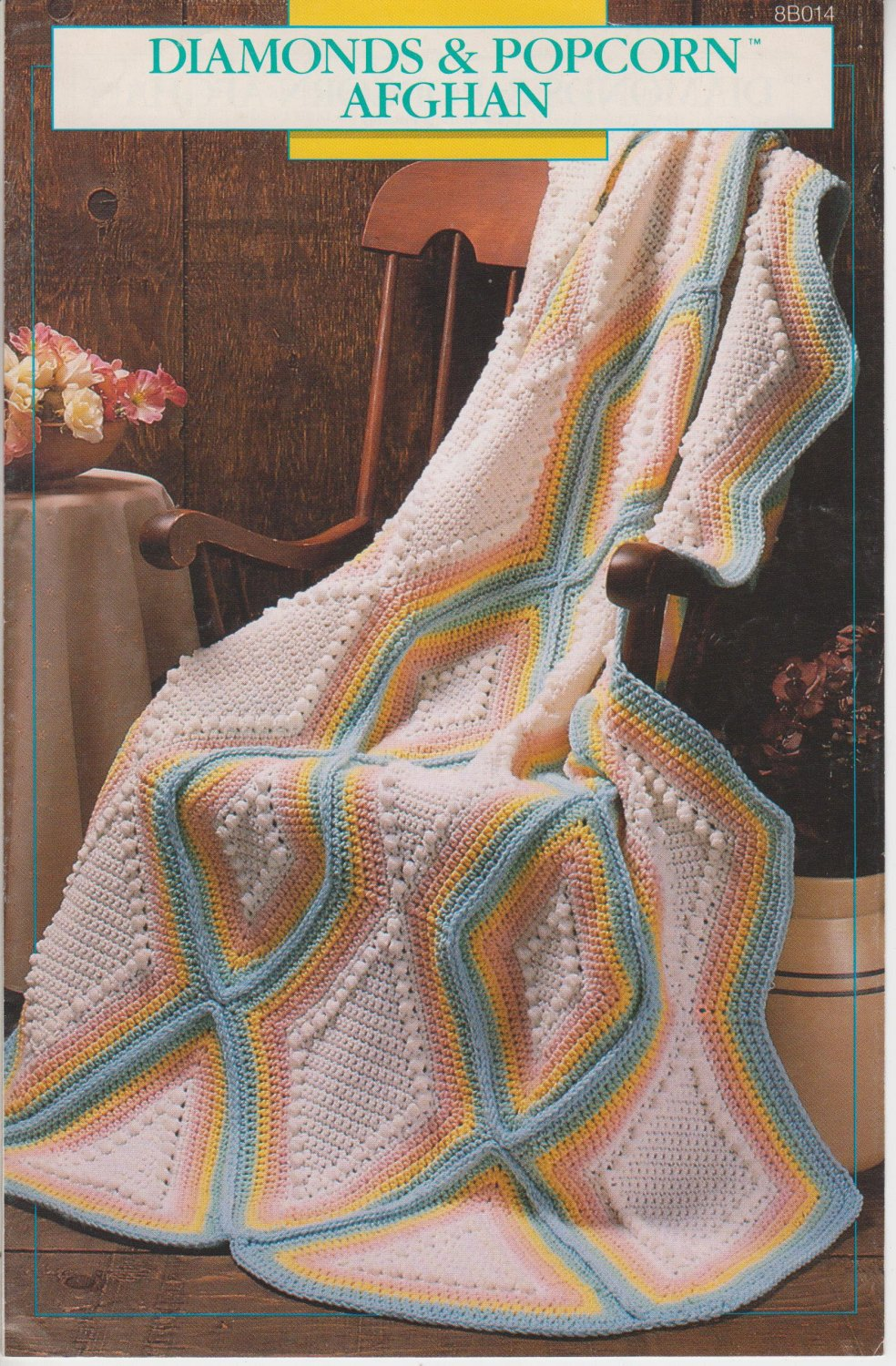 Annie's Attic Diamonds & Popcorn Afghan 1989 Crochet Pattern