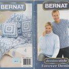 Bernat 2004 Knitting & Crochet Pattern Booklet #530119 Denim Style Forever Denim