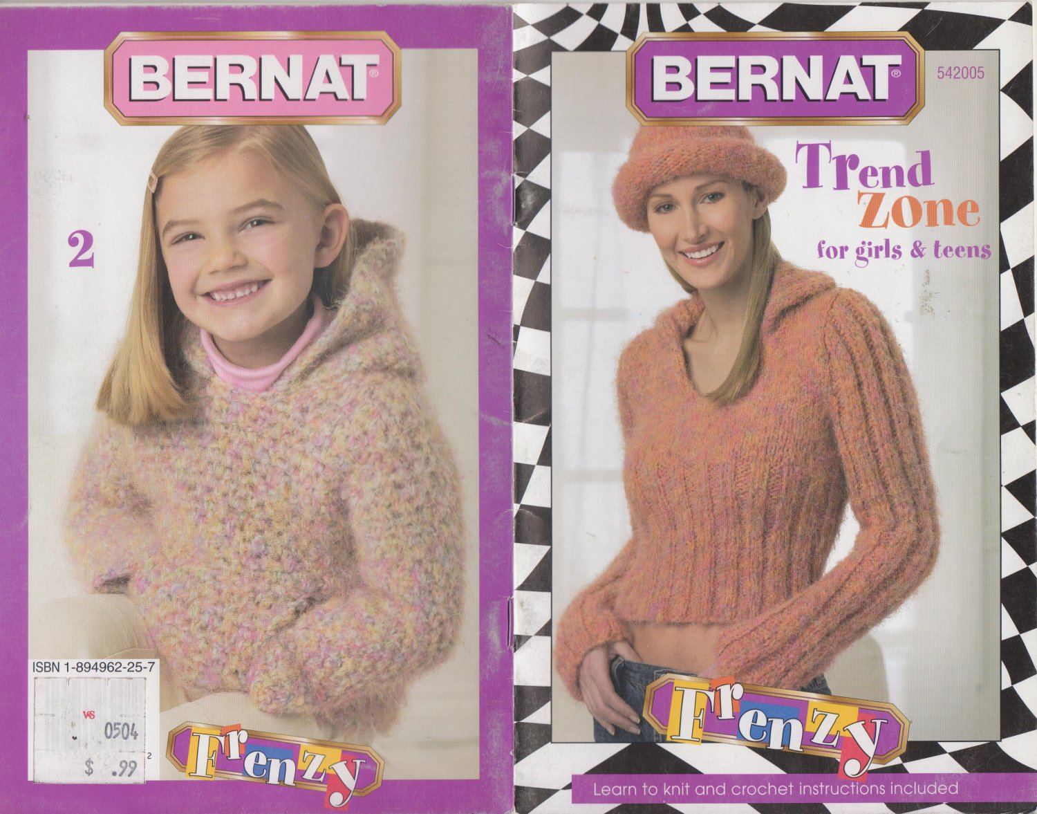 Bernat Trend Zone for girls & Teens Knitting Crochet Pattern Booklet #542005
